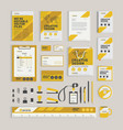 yellow geometric corporate identity design vector image
