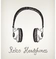 hand drawn retro headphones earphones isolated vector image