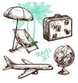 Travel Sketch Decorative Icon Set vector image