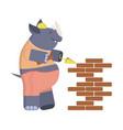 cartoon builder rhino vector image