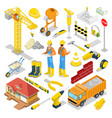 isometric builder with construction instruments vector image