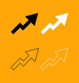 chart of growth black and white set icon vector image