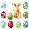 A group of Easter eggs and a sweet bunny vector image vector image