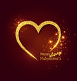 abstract golden heart with glowing lights vector image