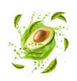 avocado juice splash explosion in motion vector image