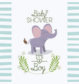 baby shower card with cute elephant vector image vector image