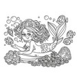 beautiful mermaid girl lies on a rock outlined vector image vector image