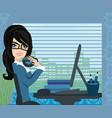 beautiful secretary working with computer vector image