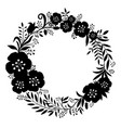 black beautiful wreath flowers and plants vector image