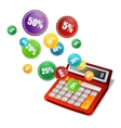 calculator and sale labels vector image vector image