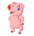 cartoon pig isolated on white background vector image vector image