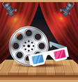 cinema entertainment with reel and 3d glasses vector image vector image