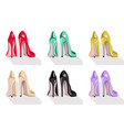 colorful high heel shoes set vector image vector image
