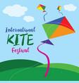 colorful international kite festival poster vector image vector image