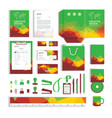 corporate identity design template with polygonal vector image