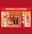 costumer choosing cloth at fashion womans shop vector image