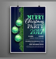 creative blue christmas party flyer design vector image vector image