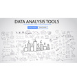 Data Analysis Tools with Doodle design style vector image vector image