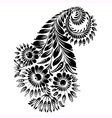 decorative silhouette of a floral paisley vector image vector image