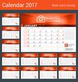 Desk Calendar for 2017 Year Set of 12 Months vector image