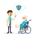 doctor talking about insurance coverage safety vector image vector image