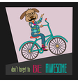 Hipster poster with nerd dog riding bike vector image