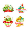 icons and paschal stickers for easter sale vector image