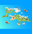 isometric global logistic network template vector image vector image