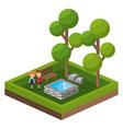 isometric park activity cartoon vector image vector image