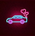 just married car neon sign vector image vector image
