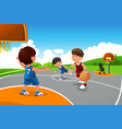 kids playing basketball in a playground vector image vector image