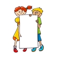 Kids with a banner vector image vector image