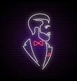 light neon signboard with elegant gentleman vector image vector image