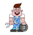 mechanic with a wrench and a wheel from the car vector image vector image