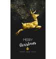 Merry christmas happy new year gold deer low poly vector image vector image