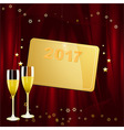 New Years golden tag with date and champagne vector image vector image