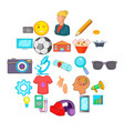 practice icons set cartoon style vector image vector image