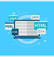programming code on laptop banner vector image vector image