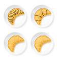 realistic 3d detailed croissant on plate set vector image