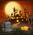 scary castle with pumpkins on the full moon vector image vector image
