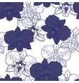 seamless floral pattern blue orchids vector image vector image