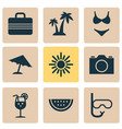 season icons set collection of baggage parasol vector image