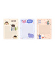 set childish cute agenda appointment notebook vector image vector image