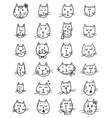 set cute cats faces vector image