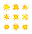 set nine different bright sun icons on white vector image vector image