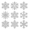 set of silver glittering snowflakes over white vector image