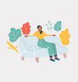 sleeping girl on sofa vector image vector image