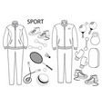 sport clothes and sport equipments set sportlife vector image