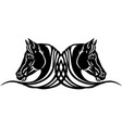 two heads black horses tattoo vector image vector image