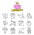 Valentine day icons with balloon gift bird vector image vector image